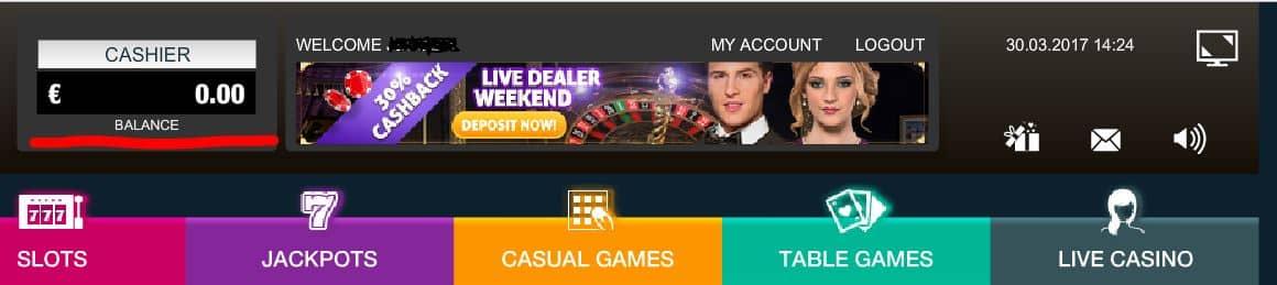 mastercard casino cashier