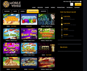 MobileWins Play Online Scratch Cards page