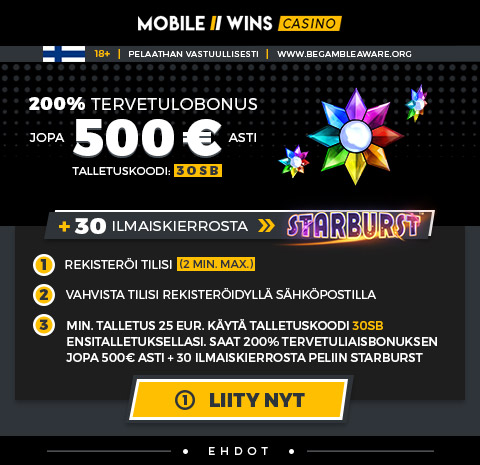 200% Tervetulobonus jopa 500 EUR asti