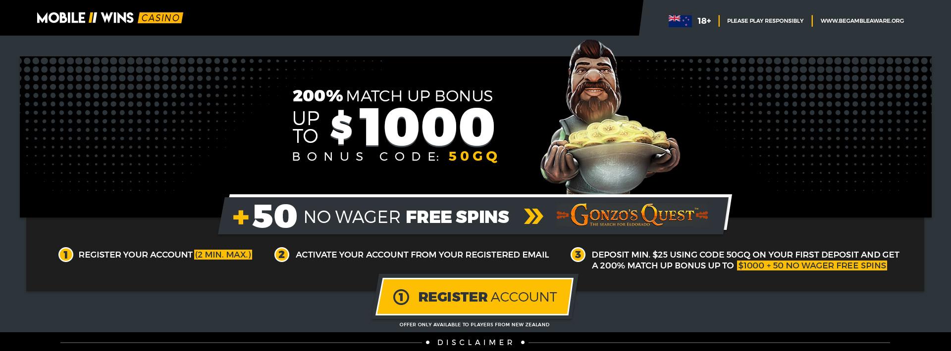 $1000 Bonus + 50 Free Spins