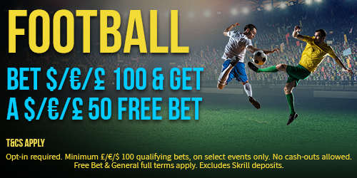 GET YOUR £/$/€50 FREE BET