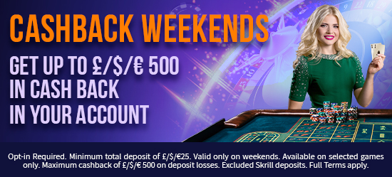 Play Table Games All Weekend & You Could Get up to 15% Cashback on deposit losses