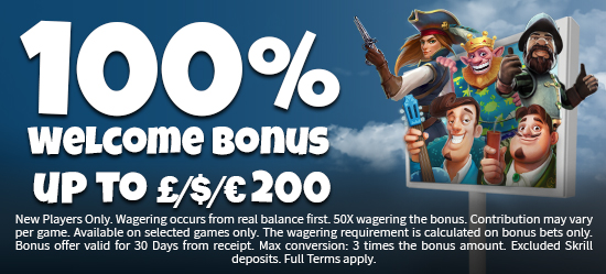 100% up to £/€/$100 on your first deposit